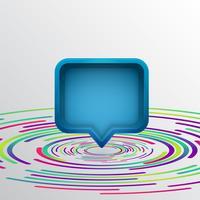 Realistische Blase der Sprache 3D mit bunten Kreisen, Vektorillustration