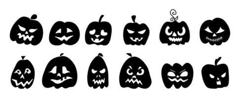Silhouetten von Kürbissen mit Gesichtern für Halloween. vektor