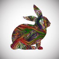 Buntes Kaninchen gemacht durch Linien, Vektorillustration