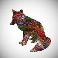 Färgrik räv gjord av linjer, vektor illustration