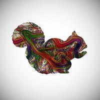 Färgglada ekorre gjord av linjer, vektor illustration