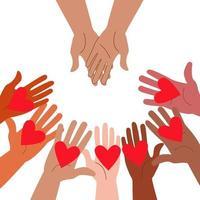 Hände, die Herzen ausstrecken und Hände, die um Hilfe bitten. vektor