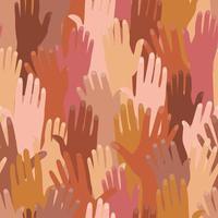 Muster mit Händen verschiedener Nationalitäten. vektor