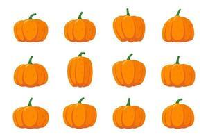 Kürbis-Kürbis-Cartoon-Icon-Set. orangefarbenes Herbstkürbisgemüse vektor