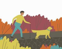 Mann wandert mit Hund vektor