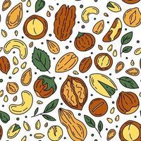 Nüsse und Samen Vektor nahtlose Muster im Doodle-Stil.