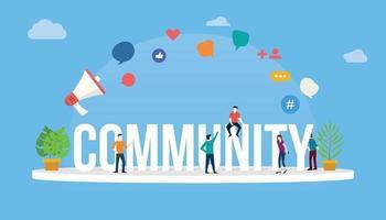 Community People-Konzept mit großem Text und Menschen vektor