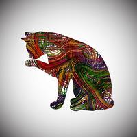 Färgrik katt gjord av linjer, vektor illustration