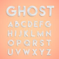"""Ghost"" vit design typsnitt, vektor"