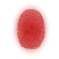 Rött fingeravtryck på vit bakgrund, vektor illustration
