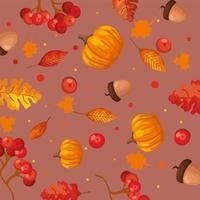 Kürbisse mit Blättern und Nüssen Herbstmusterhintergrund vektor