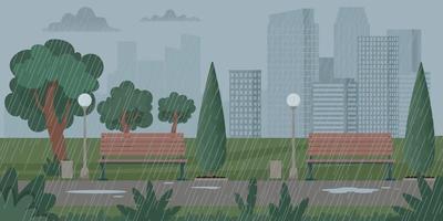 Stadtlandschaft mit Regenwetter, Gewitter. Vektor-Illustration vektor