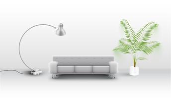 En vit soffa med ett varv och en växt, vektor
