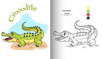 Tiercharakter lustiges Krokodil im Cartoon-Stil Malbuchseite. vektor