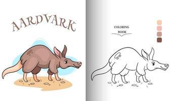 Tiercharakter lustige Erdferkel im Cartoon-Stil Malvorlagen. vektor