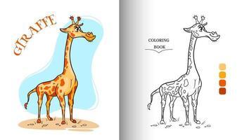 Tierfigur lustige Giraffe im Cartoon-Stil Malvorlagen. vektor