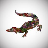 Färgrik krokodil gjord av linjer, vektor illustration
