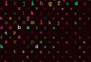 dunkler mehrfarbiger Regenbogenvektorhintergrund mit Zeichen des Alphabets. vektor