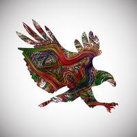 Färgglada örn gjord av linjer, vektor illustration