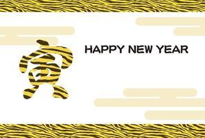 Jahr der Tigerkarte mit Tigerstreifenlogo. Text - der Tiger. vektor