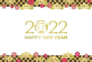 2022, Jahr des Tigers, Karte mit japanischen Mustern. Text - Tiger. vektor