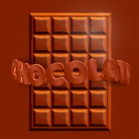 """3D realistisk chokladbar med 3D """"CHOCOLATE"""" text, vektor"""