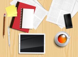 Realistischer Schreibtisch mit verschiedenen Gegenständen, Vektorillustration