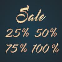 '25 -50-75-100% Försäljning 'läderskyltar, vektor illustration
