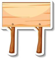 eine Aufklebervorlage mit leerem Holzschild isoliert vektor