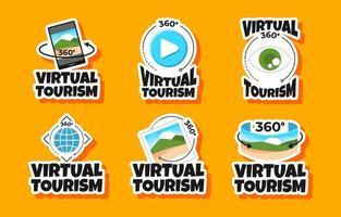 Vorlagensatz für virtuelle Tourismusaufkleber vektor
