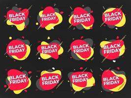12 schwarze Freitagsplakat- oder -fahnenentwurfsschablonenvektorillustration. vektor