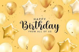Grattis på födelsedagen Grattis banner design med konfetti, ballonger vektor