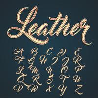 Läder teckensnitt små bokstäver, vektor