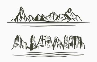 Schwarze Linie Naturlandschaft mit Berg, Fluss vektor