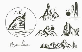 Schwarze Linie Naturlandschaft mit Berg, Fluss, Sonne, Baum vektor