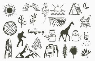 schwarze Linie natürlich mit Berg, Fluss, Baum, Sonne, Zelt, Giraffe vektor