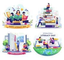 Bündel Alphabetisierungstag mit Leuten, die Bücher lesen. Vektor-Illustration vektor