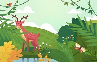 Hirsch und Vogel auf Naturhintergrund vektor