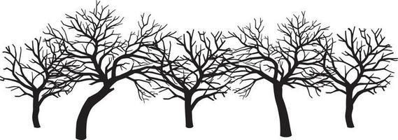 Gruppe gruseliger Bäume vektor