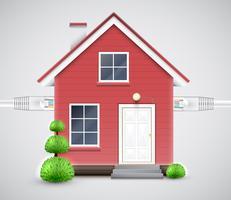 Realistiskt hus kopplat till molnet, vektor