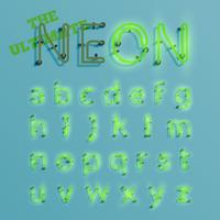 Realistisk grön neon karaktär typeset, vektor