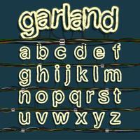 Neon garland font set, vektor
