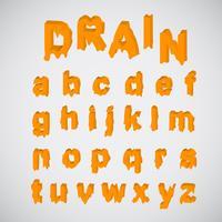 Smältande orange teckenuppsättning, vektor