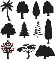 Sammlung von Baumsilhouetten vektor