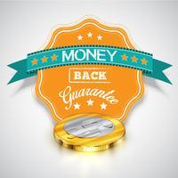"""Aufkleber """"Geld-zurück-Garantie"""" mit realistischen Münzen, Vektor"""