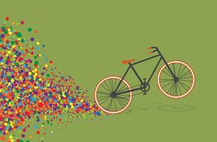 Flache Illustration des bunten Fahrrades, Vektor