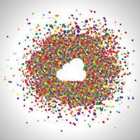 Cloud gjord av färgglada prickar, vektor