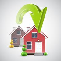 Umzug in ein neues Haus mit einem grünen Pfeil