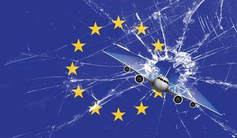 Großbritanniens Stern schoss von der EU-Flagge, Vektorillustration
