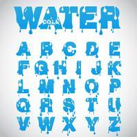 """""""Vatten"""" teckensnitt som är gjord av flödesfontsnitt, vektor"""